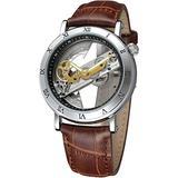 Men's Skeleton Watch Unique Automatic Watch Leather Strap Men Watches (Black Silver)