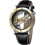 Men's Skeleton Watch Unique Automatic Watch Leather Strap Men Watches (Black Gold)