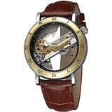 Men's Skeleton Watch Unique Automatic Watch Leather Strap Men Watches (Brown Gold)