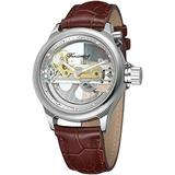 Men's Skeleton Watch Unique Automatic Watch Leather Strap Men Watches (Brown Silver)