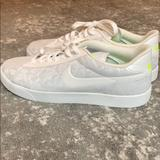 Nike Shoes | Rare Nike Lace Material Tennis Shoes Sneakers | Color: White/Yellow | Size: 11