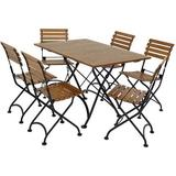 Sunnydaze Decor DMR-820-745-6 Essential European Chestnut Wood 7-Piece Folding Table and Chairs Set
