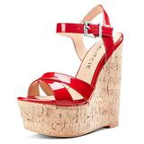 CASTAMERE Womens High-Heel Platform Wedge Heel Sandals Slingback Sexy Ankle Strap Open Toe 16CM Heels Red Patent Shoes 9.5 M US