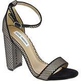 Steve Madden Carrson Black Mesh Women's Black Fabric High Heel Sandals Shoes - Size: 6 US
