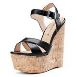 CASTAMERE Womens High-Heel Platform Wedge Heel Sandals Slingback Sexy Ankle Strap Open Toe 16CM Heels Black PU Shoes 5 M US