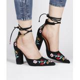 RXFSP Women's Sandals Black - Black Floral-Embroidered Lace-Up Suede D'Orsay Pump - Women