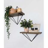 Wallity Hanging Shelf Organizers Walnut/Black - Wood & Black Metal Wire Wall Shelf - Set of Two