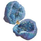 GmLife Crystal Geode Ring Box, 100% Natural Crystal Cluster, Titanium Coated Quartz Ring Holder for Proposal, Engagement, Wedding, Keepsake, Agate, Quartz, Ring Holder, Décor,Artwork,Arts And Culture (blue)