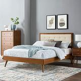 Modway Willow Wood Twin Platform Bed in Walnut Beige with Splayed Legs, Single