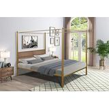 Canopy Bed Frame, Four-Poster Upholstered Queen Platform Bed Frame with Headboard, Brass Metal Bed Frame Queen