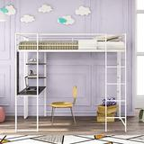 Twin Size Loft Bed with Desk,2 Shelves,Safety Rail and Ladder, Study Metal Loft Bed for Kids (Metal Bed Frame White)