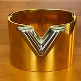 Louis Vuitton Jewelry | Authentic Louis Vuitton Essential V Cuff Bracelet | Color: Gold/Silver | Size: 1.6 Inches Wide; Inside Circumference 6 Inches