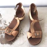 Madewell Shoes | Madewell T-Strap Wooden Heel Leather Sandals 6.5 | Color: Tan | Size: 6.5