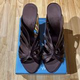 Nine West Shoes | Brown Satin Mule Sandal | Color: Brown | Size: 9.5