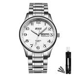 BOSCK Mens Analog Watch,Stainless Steel Waterproof Fashion Wrist Watch for Men,Fashion Auto Date and Day Quartz Business Watch,Easy Read Sports Watch