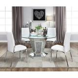 Orren Ellis Anne-Louise 5 - Piece Dining Set Glass/Metal/Upholstered Chairs in Gray/White, Size 30.0 H x 52.0 W x 52.0 D in | Wayfair