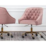 Willa Arlo™ Interiors Bellicent Adjustable Swivel Office Chair Upholstered in Pink/Yellow, Size 35.5 H x 24.5 W x 22.5 D in | Wayfair
