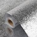 Decormax 15.7inch x197inch Wallpaper Aluminum Foil Shelf Liners for Kitchen Cabinets Peel and Stick Oil-Proof Waterproof Stickers Backsplash