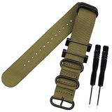 MCXGL Replacement for suunto core All Black Military Nylon Band 24mm Nylon Watch Band Wrist Strap for Men