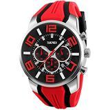 Men's Big Face Analog Digital Sports Watches Quartz Chronograph Waterproof Wrist Watch Calendar Rubber Watch Band Multifunction Casual Watch (Red)