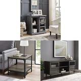 """Walker Edison Furniture Modern Farmhouse Buffet Entryway Bar Cabinet Storage with Wood Side End Accent Table and Wood and Glass Stand with 2 Cabinet Doors 65"""" Flat Screen Universal TV Console"""