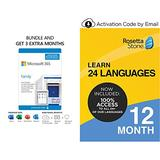 Microsoft 365 Family   3 Months Free, Plus 12-Month Subscription [PC/Mac Download] plus Rosetta Stone Learn Unlimited Languages 12 Months [PC/Mac/iOS/Android Download]