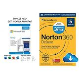 Microsoft 365 Family | 15-Month Subscription PC/Mac Download and Norton 360 Deluxe | Antivirus software for 5 Devices 15-Month Subscription PC/Mac Download (Renews to 12-Month Subscription)