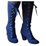 CYHOME Christmas Womens Boots Vintage Victorian Gothic Mid Calf Height Boots Casual Lace up Thick Heels Booties