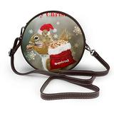 Small Cross Body Bag Christmas Squirrel Printed Purse With Chain Strap For Women, Fashion Circle Cellphone Round Purse