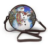 Small Cross Body Bag Snowman Birds Christmas Tree Printed Purse With Chain Strap For Women, Fashion Circle Cellphone Round Purse