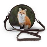 Small Cross Body Bag Funny Fox Printed Purse With Chain Strap For Women, Fashion Circle Cellphone Round Purse