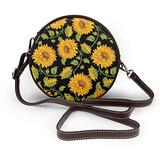 Small Cross Body Bag Sunflower Pattern Printed Purse With Chain Strap For Women, Fashion Circle Cellphone Round Purse