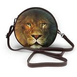 Small Cross Body Bag Lion Printed Purse With Chain Strap For Women, Fashion Circle Cellphone Round Purse
