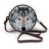 Small Cross Body Bag Wolf Head Printed Purse With Chain Strap For Women, Fashion Circle Cellphone Round Purse