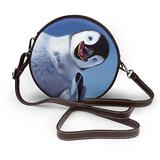 Small Cross Body Bag Cute Penguin Printed Purse With Chain Strap For Women, Fashion Circle Cellphone Round Purse