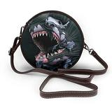 Small Cross Body Bag Cool Shark Printed Purse With Chain Strap For Women, Fashion Circle Cellphone Round Purse