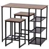 Kitchen Dining Table 3-Piece Retro Pub Set with Natural Wood Countertop and Bar Stools, Brown/Black