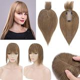 SEGO 120% Density Hair Topper With Bangs Silk Base Human Hair Top Hair Pieces Clip in Crown Topper for Slight Hair Loss Thinning Hair Cover Gray Hair -10 Inch Light Brown