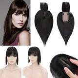 SEGO 120% Density Hair Topper With Bangs Silk Base Human Hair Top Hair Pieces Clip in Crown Topper for Slight Hair Loss Thinning Hair Cover Gray Hair -12 Inch Natural Black