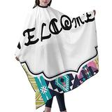 """Haircut Cape Exotic Style Welcome Hair Salon Cape with Telescopic Buckle Hair Styling Cape for Adult Kids Waterproof Anti-Static Cloak for Family and Hair Salon Hair Cutting Cape W55"""" L66"""""""