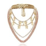 POPOLING 5Pcs Sparking Fully Crystal Pave Butterfly Pendant Cubic Zircon 3D Butterfly Pendant Necklace for Women