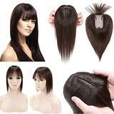 SEGO 120% Density Hair Topper With Bangs Silk Base Human Hair Top Hair Pieces Clip in Crown Topper for Slight Hair Loss Thinning Hair Cover Gray Hair -10 Inch Dark Brown