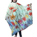 """Haircut Cape Watercolor red Flowers Hair Salon Cape Hair Styling Cape for Adult Girls Boys Waterproof Anti-Static Cloak for Family and Hair Salon Hair Cutting Cape W55"""" L66"""""""