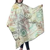 """Haircut Cape Vintage Stamps Hair Salon Cape with Telescopic Buckle Hair Styling Cape for Men Women Girls Boys Waterproof Anti-Static Cloak for Family and Hair Salon Hair Cutting Cape W55"""" L66"""""""