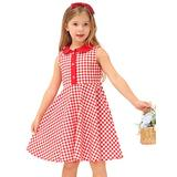 Belle Poque Girl's Dress Kids Doll Collar Party Wedding Bridesmaid Dresses,Red Plaid,8Y