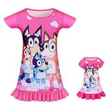 Matching Girls & Dolls Nightdress Baby Girls Dress Princess Short Sleeve Night Dresses Summer Home Wearing