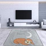 MERRYSUGAR Cute Sloth Gray Area Rugs 7' x 5',Soft Area Rugs for Living Room Bedroom Soft Carpet Floormat Nusery Rug
