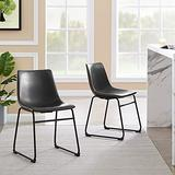 Dining Chairs with Backrest Set of 2, Tribesigns Count Height Stools with Metal Legs, Vintage Pu Leather Side Chairs Counter Height Bucket Dining Room Chairs for Home Kitchen