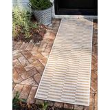 Unique Loom Outdoor Collection Classic Stripes, Transitional Indoor & Outdoor Area Rug, 2' 0 x 6' 0 Runner, Charcoal/Ivory