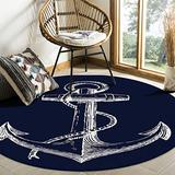 Plush Round Throw Rug Cozy Rug Floor Mat, Nautical Anchor Navy Blue Area Rugs Home Office Decorator, Super Soft Stain-Proof Carpets Kids Play Rug, 4 Feet